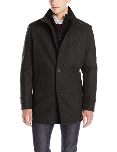 Marc New York by Andrew Marc Men's Strafford Pressed Wool Carcoat W/ Inset Knit Bib