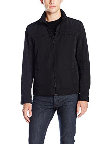 Calvin Klein Men's Poly Twill Jacket with Hidden Hood, Black, Small
