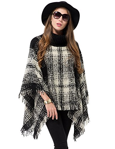 Womens Knitted Poncho Cape Pullover Sweater Turtleneck Tassel Winter Shawl
