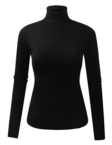 BILY Women's Soft Stretchy Long Sleeve Turtleneck Sweater