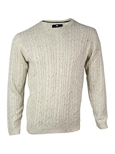 Argyleculture Men's Marled Cable Suede Patch Sweater