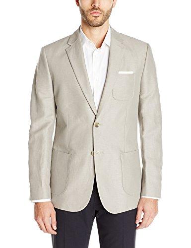 Calvin Klein Men's Textured Linen Blend Sportcoat, Elephant Skin, X-Large/Regular