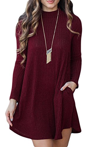 POGT Women's Sexy Long Sleeve Knitted Pockets Casual A-Line Sweater Dress