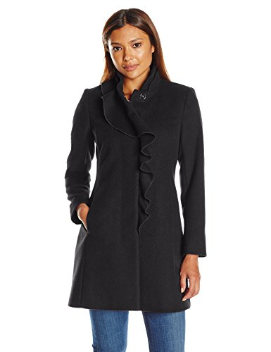 Larry Levine Women's Petite Ruffel Wool Coat