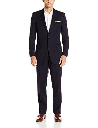 Calvin Klein Men's Solid 2 Button Side Vent Peak Lapel Slim-Fit Suit