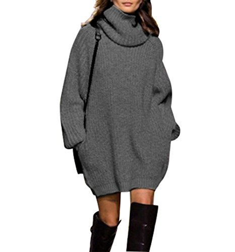 Women Pullover Oversized Jumper Long Sleeve Turtleneck Knit Sweater Dress