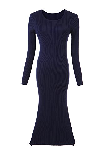 Olrain Womens Slim Fitted Crewneck Knit Sweater Dress