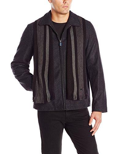 Calvin Klein Men's Wool Short Scarf Coat, Charcoal, X-Large