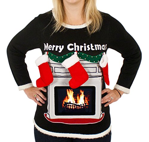 Women's Lighted Fireplace Ugly Christmas Sweater with Tablet Pouch in Black