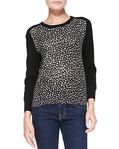 Tory Burch Shia Black Dotted Pony Print Merino Wool Sweater – Size Small