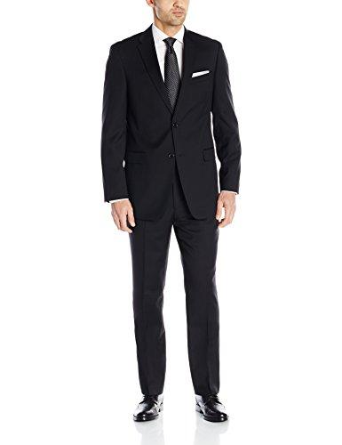 Tommy Hilfiger Men's Black Weave 2 Button Side Vent Trim Fit Suit