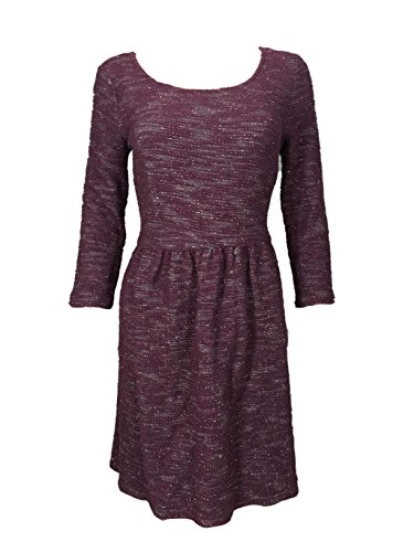 Maison Jules 3/4 Sleeve Fit and Flare Sweater Dress, Vintage Wine