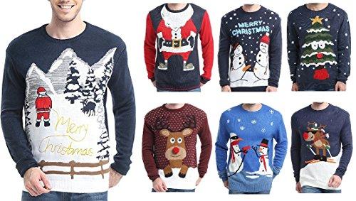 Men's Christmas Reindeer Snowman Santa Snowflakes Sweater