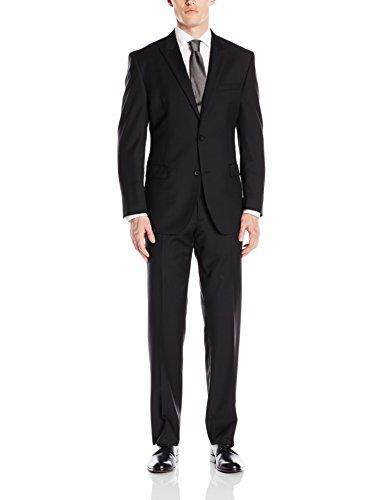 Andrew Marc Men's Claude Regular Fit 2 Button Side Vent Peak Lapel Solid Suit