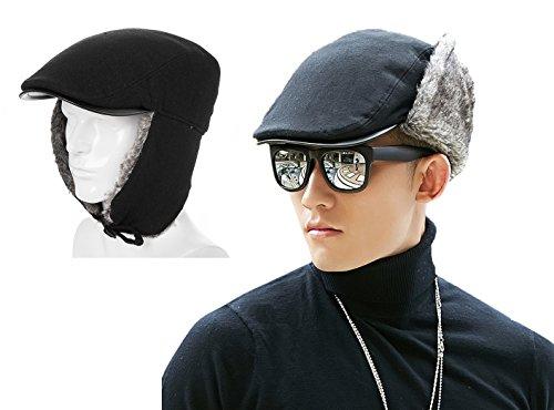 Siggi Mens 50% Wool Newsboy Ivy Winter Ball Cap with Faux Fur Earflap Medium