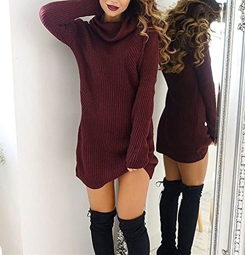 E-Papaya Womens sexy scoop neck Long Sleeve Casual Loose Knitted Sweater Dress