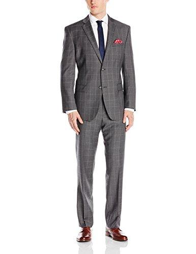Andrew Marc Men's Carlton Regular Fit 2 Button Side Vent Grey Suit
