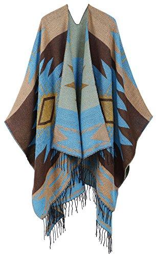 ANDORRA Women's Vintage Soft Merino Wool Kimono Wrap Cardigan w/ Tassels