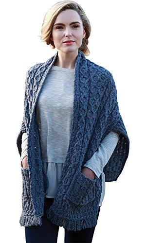 Ladies Merino Wool Wrap, With Pockets, Made in Ireland, 100% Pure Irish Wool, Blue