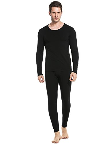 Ekouaer Thermal Set Men's 2pc Long John Underwear Soft Cotton Blend Shirt & Pants S-XXL