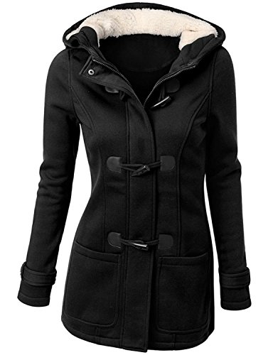 Womens Wool Blended Classic Pea Coat Jacket Black Small