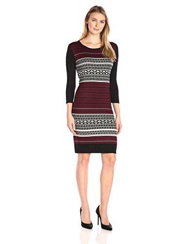 Allison Brittney Women's Birdeye Jacquard Scoop 3/4 Sleeve Sweater Dress
