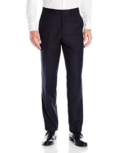 Adolfo Men's Navy Wool and Cashmere Modern Fit Flat Front Suit Pant