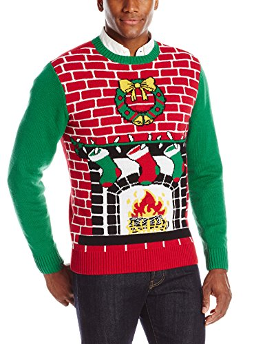 The Ugly Christmas Sweater Kit Men's Fireplace Is Lit Light Up Sweater