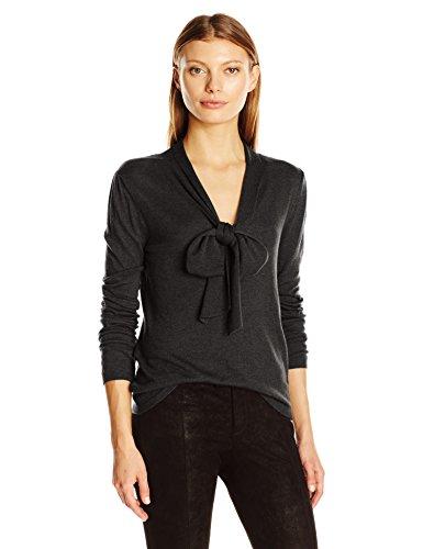 Max Studio Women's Long Sleeve Tie Neck Sweater Top