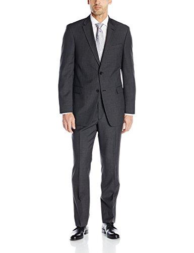 Tommy Hilfiger Men's Grey Birdseye 2 Button Side Vent Trim Fit Suit