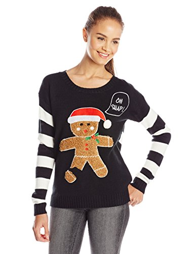 Blizzard Bay Juniors' Christmas Oh Snap 3D Gingerbread Man Sweater
