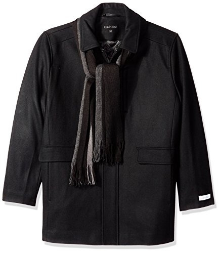 Calvin Klein Men's Big and Tall Wool Scarf Coat, Black, Large/Tall