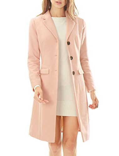 Allegra K Women Notched Lapel Button Closure Worsted Long Coat