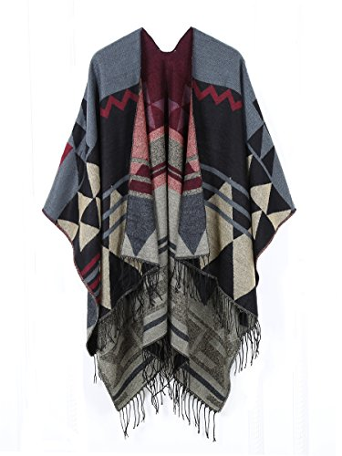 Juruaa Women's Print Wool Pashmina Shawl Blanket Cape Poncho Sweater