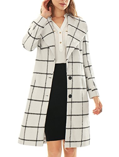 Allegra K Women Plaids Turn Down Collar Long Sleeves Worsted Coat