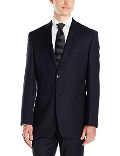 Adolfo Men's Navy Wool and Cashmere Modern Fit Suit Jacket