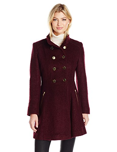 GUESS Women's Wool Boucle Military Flared Coat