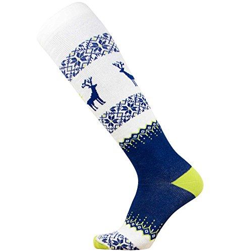 Warm Ski Socks – Ugly Sweater Deer Sock for Skiing – Merino Wool Winter, Snowboard Socks for Men and Women – OTC Knee High