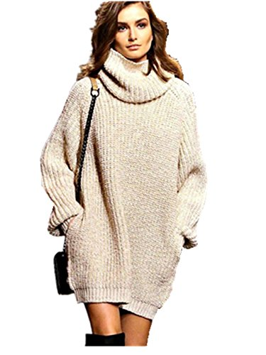 Women's Turtle Neck Long Sleeve Casual Pullover Sweater Jumper Loose Dress Top