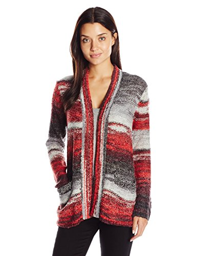 Ruby Rd. Women's Open-Front Brushed Spacedye Boucle Sweater Cardigan
