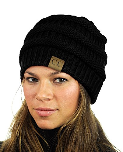 Unisex Trendy Warm Chunky Soft Stretch Cable Knit Slouchy Beanie Skully, Black, One Size