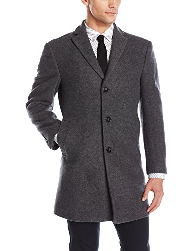 Calvin Klein Men's Prosper Solid Single Breasted Wool Blended Overcoat Extreme Fit, Grey, 46