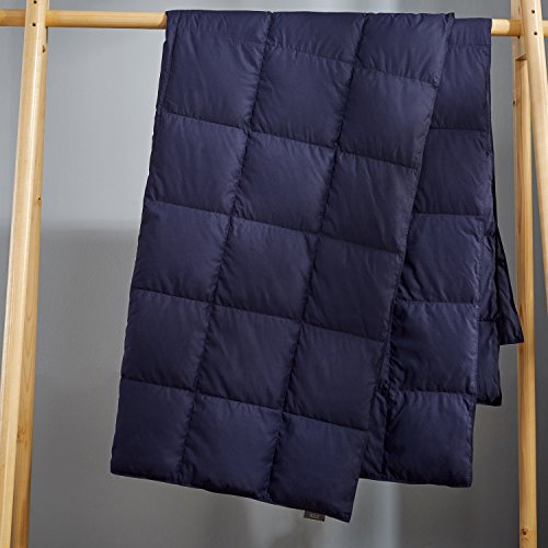"Puredown Packable Down Throw Blanket, Down-proof Fabric, 50×70"", Navy"
