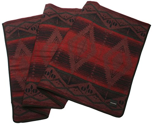 Ruth&Boaz Outdoor Wool Blend Blanket(C) Ethnic Inka Pattern (WINE LARGE)