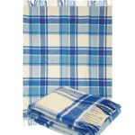 Pure Wool Throw Blanket with fringe 55×79″ (Twin) classical Tartan Light Blue, Medium Weight, made in Europe By Yaroslav Mill.