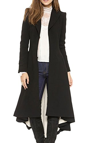 HDY Women's Fashion Long Swallow-tailed Coat Suit Jackets L Black