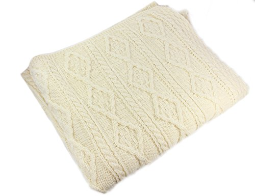 Carraig Donn Aran Knit Irish Merino Wool Blanket