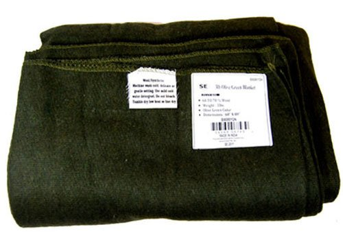 SE BI60801GN Warm 3-lb. Blanket (60″ x 80″) with 60-70% Wool, Green