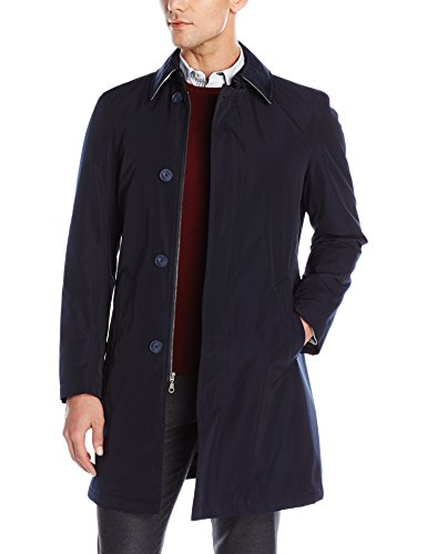 Calvin Klein Men's Marquez Slim Fit Single Breasted Trenchcoat, Navy, 42 Long
