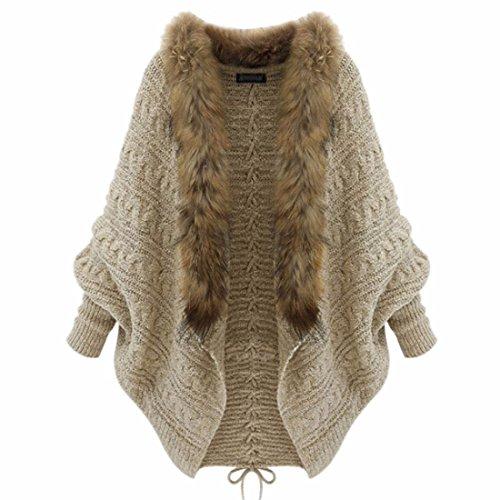Women Apricot Wool Blends Sweater Coat Fur Collar Cardigan Knitwear Warm Winter